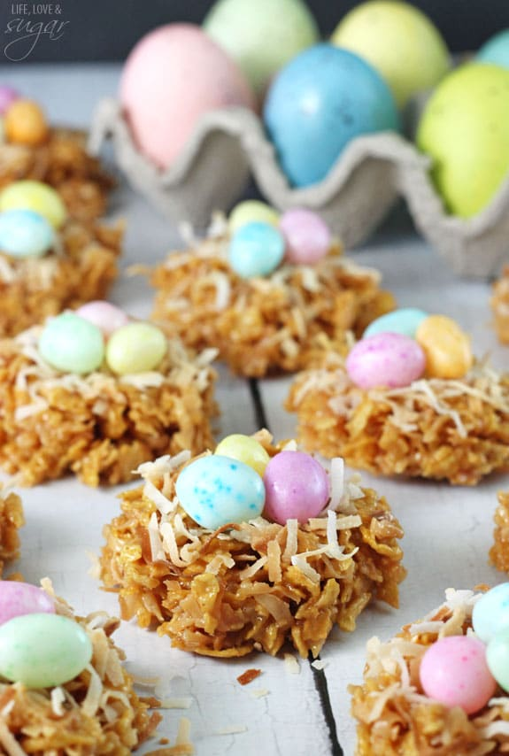 No Bake Coconut Caramel Nest Cookies - perfect dessert for Easter!