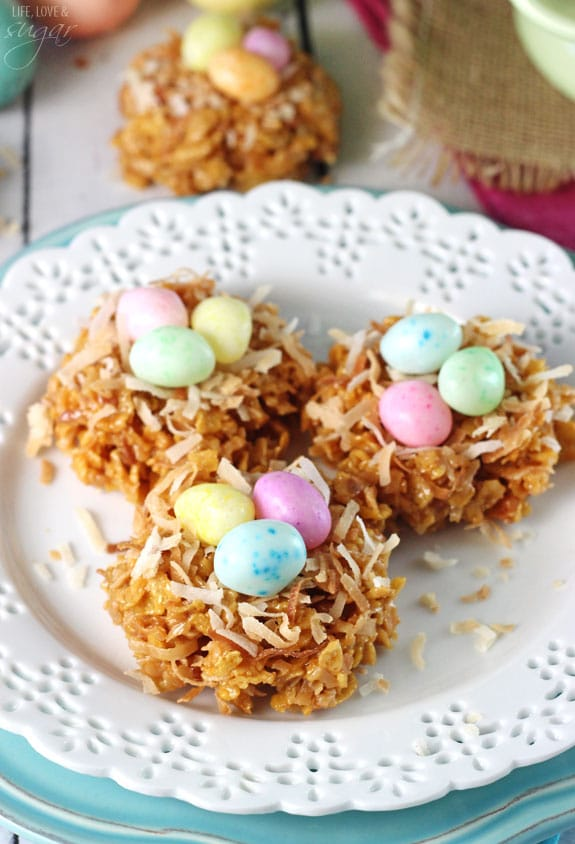 Image of Three No Bake Coconut Caramel Nest Cookies on a Plate