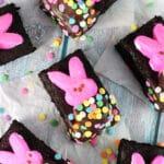 Bunny Peeps in a Blanket Brownies overhead view