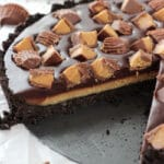 Reeses Chocolate Peanut Butter Tart with slice missing