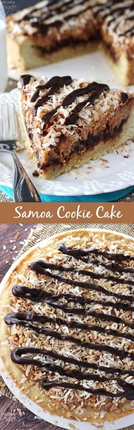 Samoa Cookie Cake - a thick and chewy sugar cookie, topped with chocolate ganache and gooey coconut caramel! Even better than a samoa girl scout cookie!