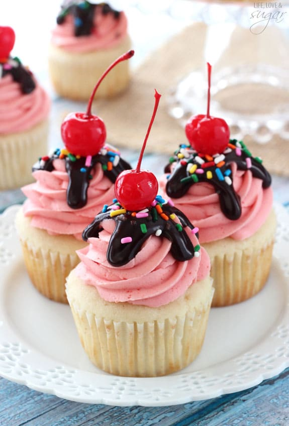 Strawberry Sundae Cupcakes on a white plate