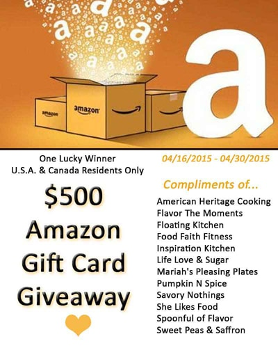 500 Amazon Gift Card Giveaway 04162015 04302015