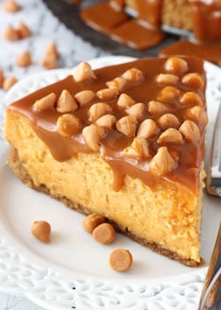 Loaded Butterscotch Cheesecake slice on white plate