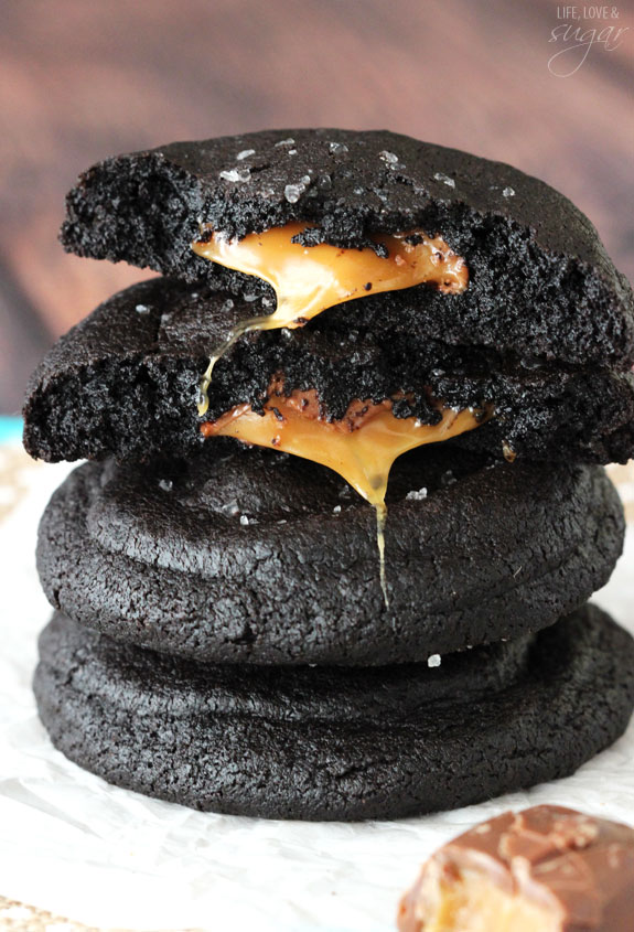 Salted Caramel Stuffed Dark Chocolate Cookies