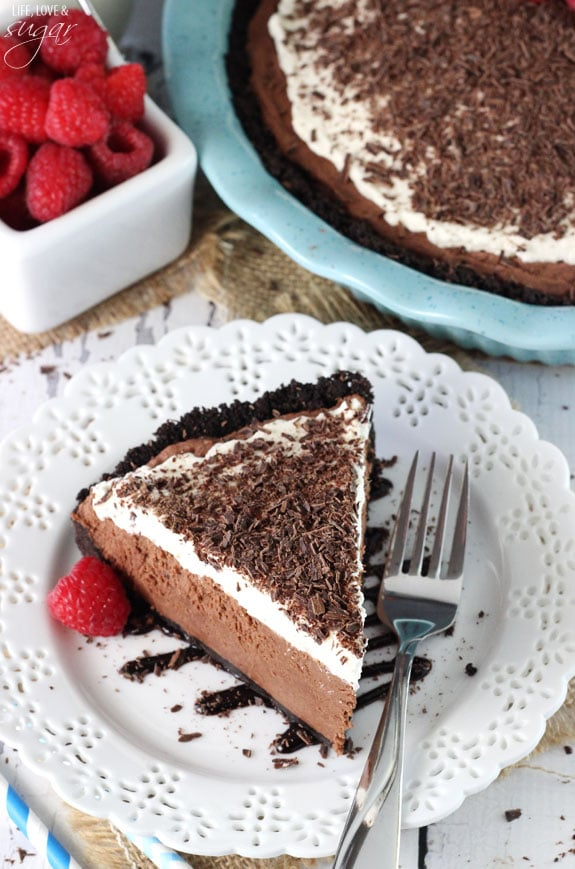 Overhead view of Chocolate Truffle Pie slice on a white plate