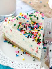 No Bake Funfetti Cheesecake slice on white plate