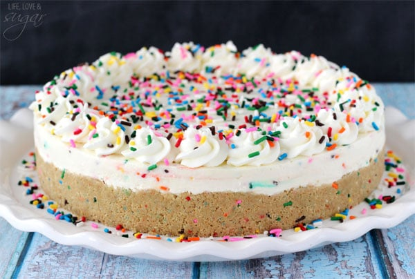 No Bake Funfetti Cheesecake! Golden Birthday Cake Oreo Crust filled with cake batter sprinkle cheesecake! So good!