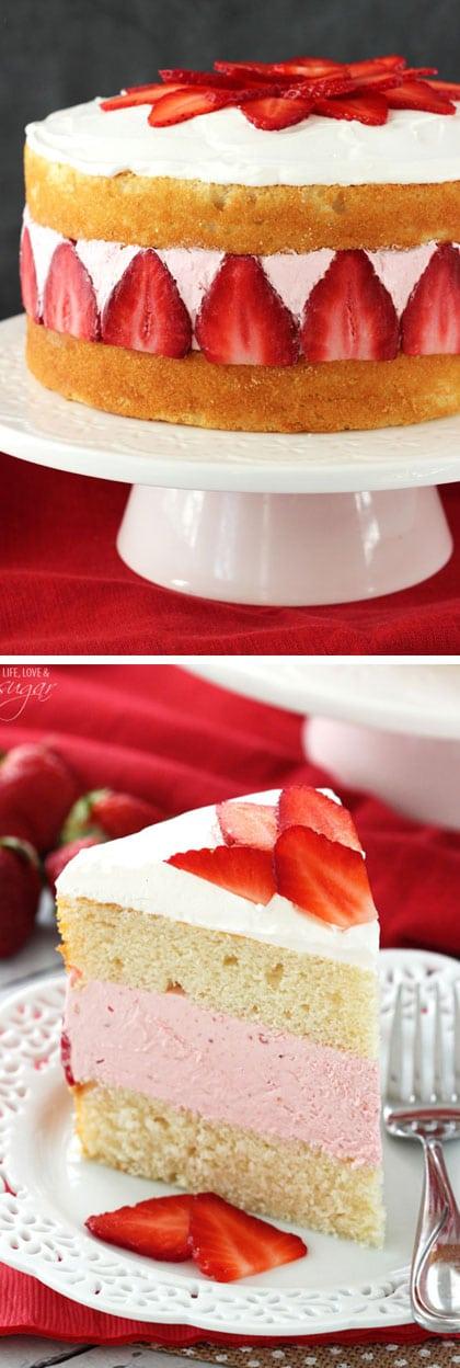 Strawberry Ice Cream Cake! Layers of soft vanilla cake with creamy strawberry ice cream!
