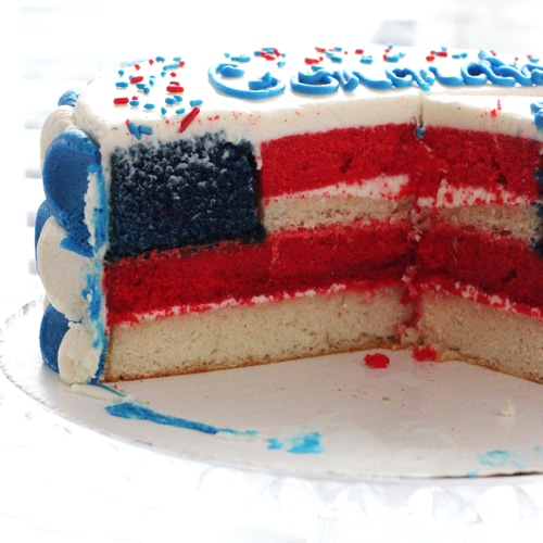 A Festive American Flag Cake for Ian's Citizenship Celebration