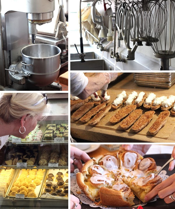 A Collage of Bakery Machinery and Food From Mortenson's Danish Bakery