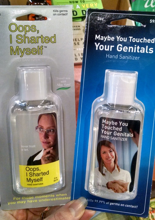 Two Bottles of Hand Sanitizer with Funny Names