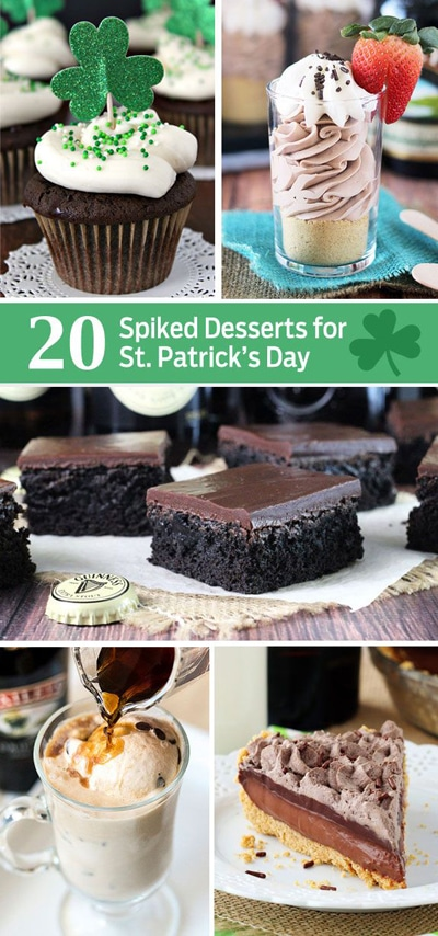 Five Pictures of Various Saint Patrick's Day Themed Desserts with Alcohol