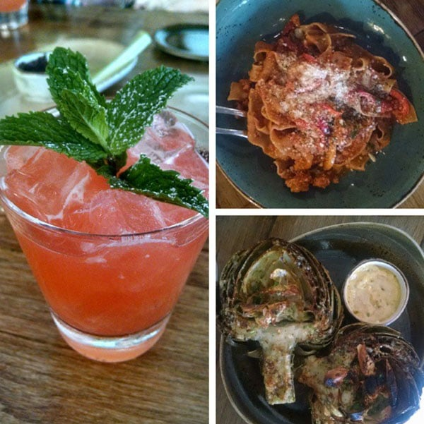 A Collage of Photos of a Drink and Two Dishes from SY Kitchen