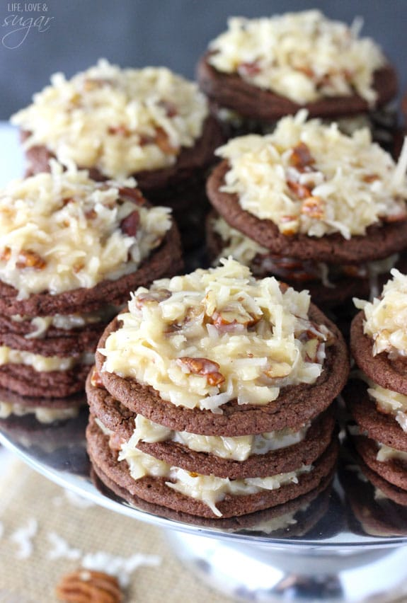 German Chocolate Cookie Stacks - layers of german chocolate cookies and coconut pecan frosting! Tastes just like eat German Chocolate Cake, but so fun!