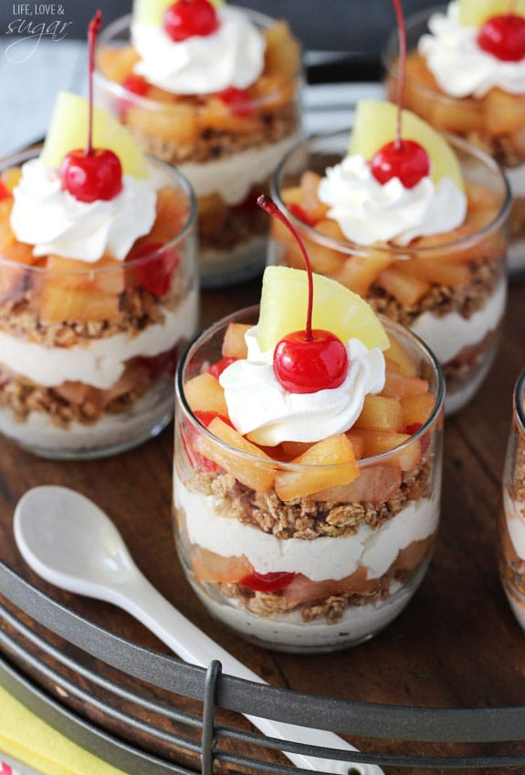Pineapple Upside Down Trifles - no bake and delicious! Layers of caramelized pineapple, no bake cheesecake and granola!