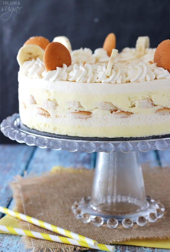 Banana Pudding Icebox Cake on a glass cake stand