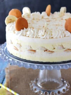 Banana Pudding Icebox Cake on glass stand