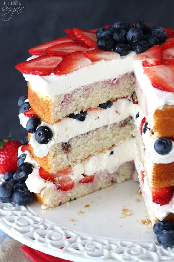 Fresh Berry Vanilla Layered Cake Layers Of Moist Flavored With Pureed Strawberries And