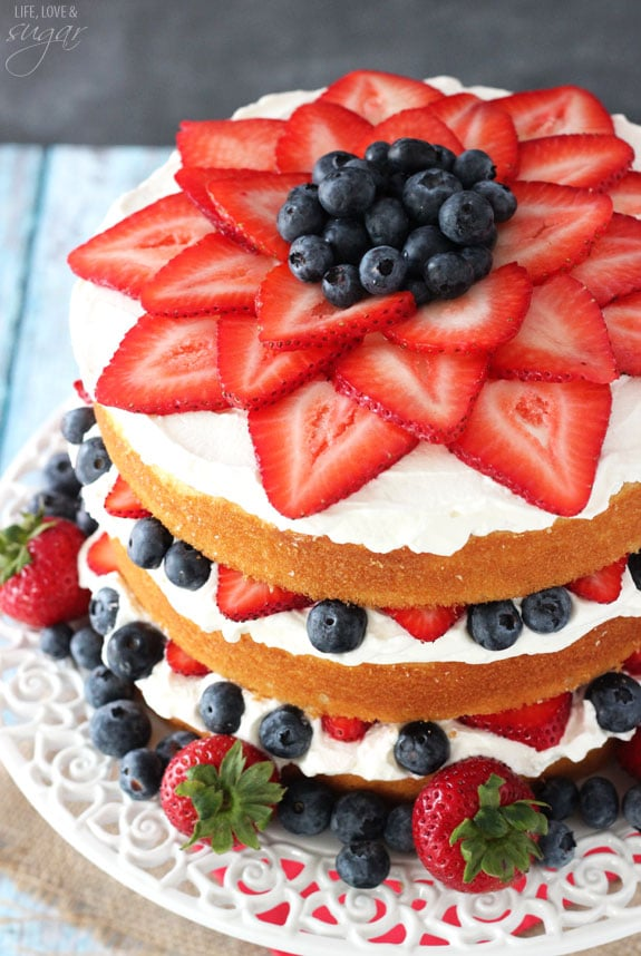 Fresh Strawberries And Blueberry Cake