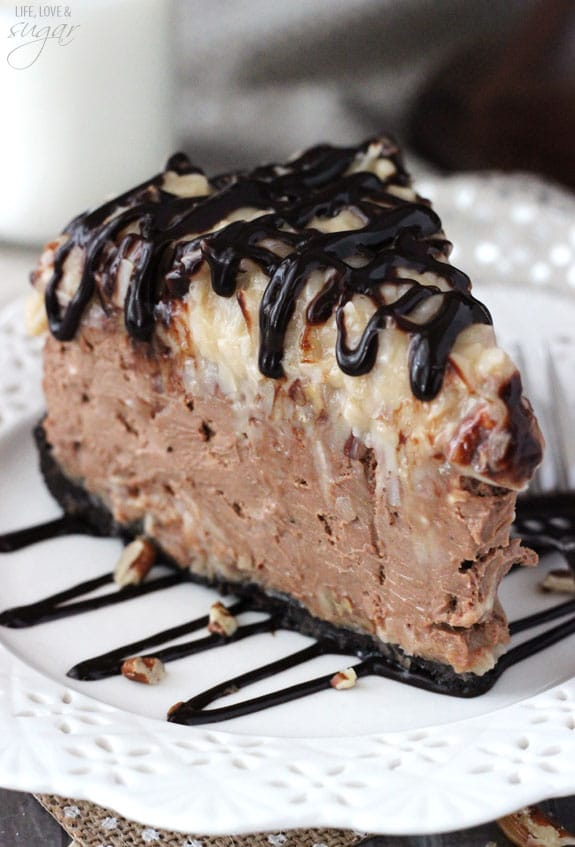 German Chocolate Cheesecake - a chocolate crust, german chocolate filling and coconut pecan topping! So good!
