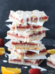 Raspberry Orange Shortbread Bars stacked