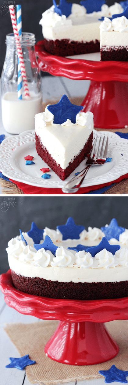 Red Velvet Blondie Cheesecake! A layer of red velvet blondie and no bake cheesecake topped with blue chocolate stars! Perfect for 4th of July!!!