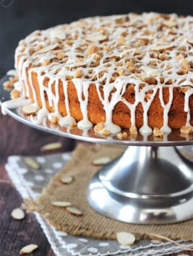 Toffee Almond Streusel Coffee Cake on silver stand