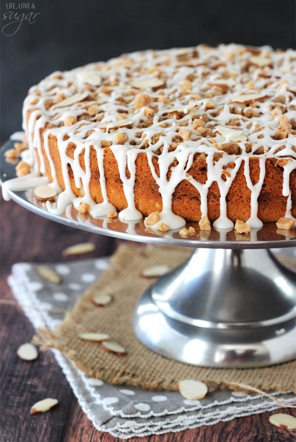 Toffee Almond Streusel Coffee Cake on a silver cake stand