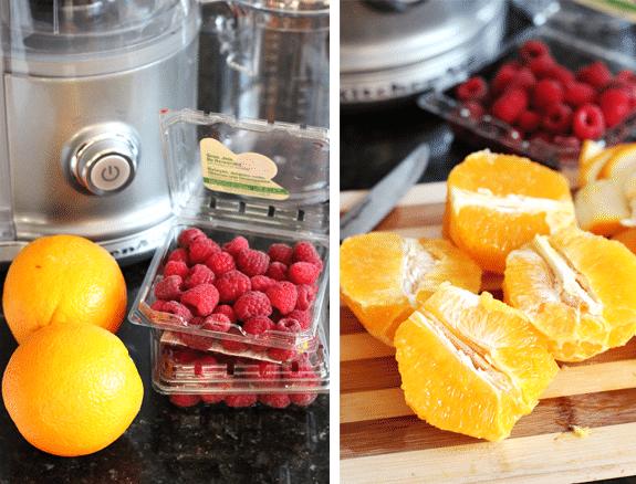 Collage of fruit for Raspberry Orange Shortbread Bars
