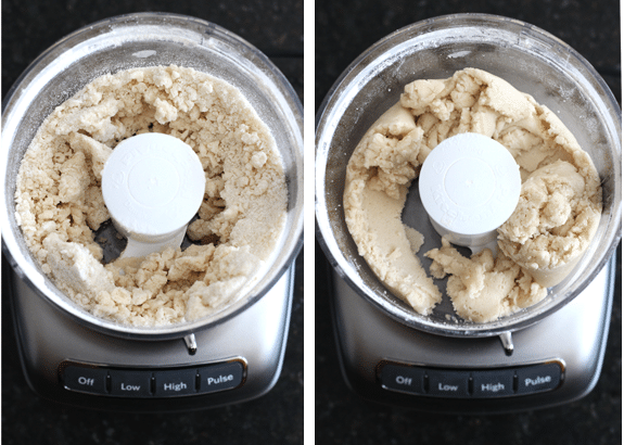 Steps of making shortbread crust in a food processor