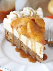 Peach Caramel Blondie Cheesecake slice on white plate