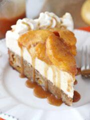 Peach Caramel Blondie Cheesecake slice on white plate