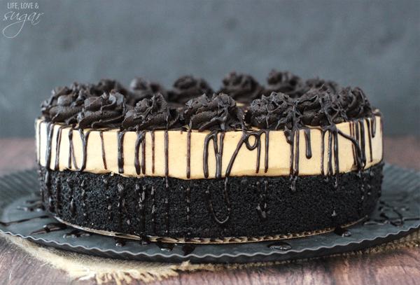Peanut Butter Truffle Chocolate Cake - a layer of moist chocolate cake topped with a layer of peanut butter truffle!