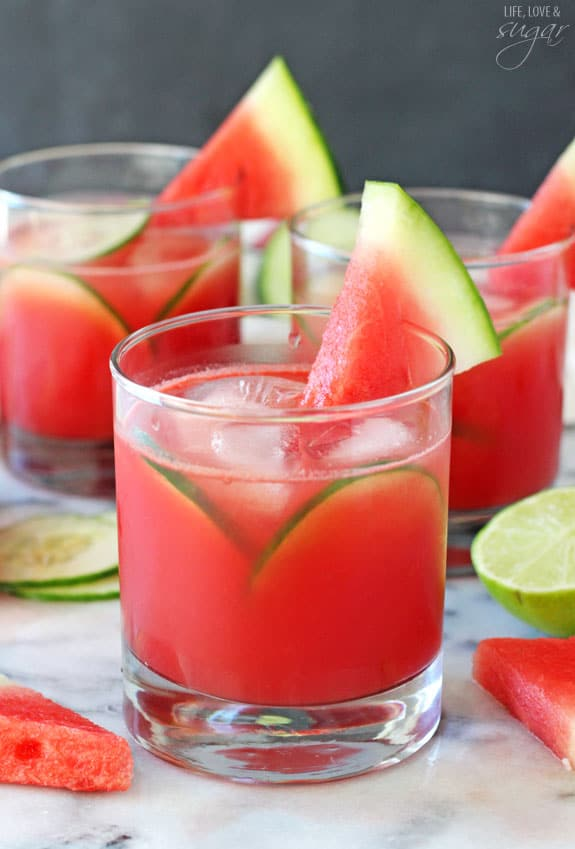 Watermelon Elderflower Cocktail - watermelon, lime juice, cucumber, elderflower and rum make this one delicious summer cocktail!