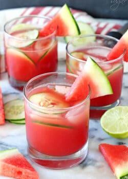 Three Watermelon Elderflower Cocktails Garnished with Watermelon Slices