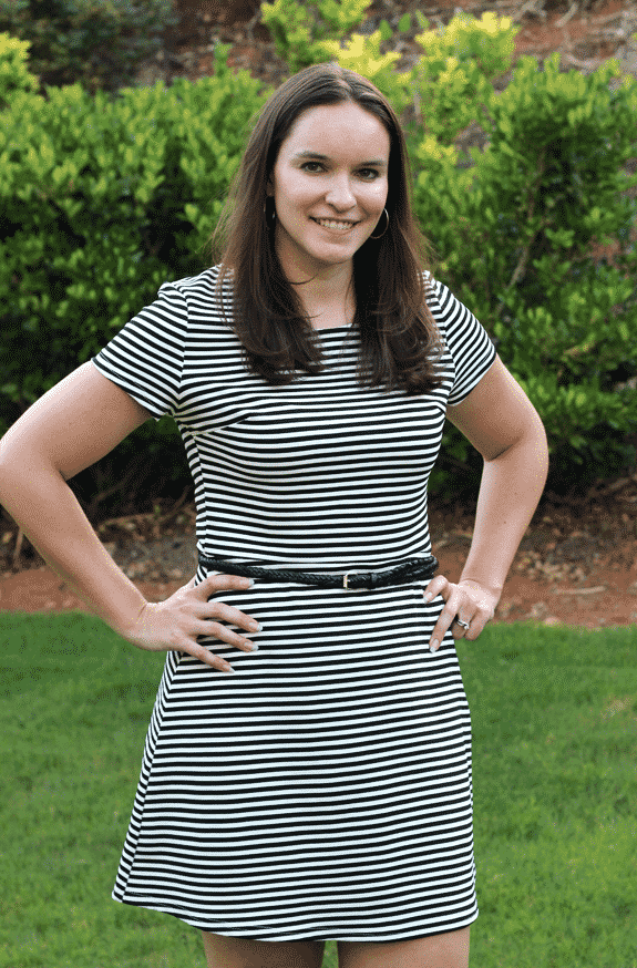 Lindsay Wearing a Striped Dress with a Thin Black Belt