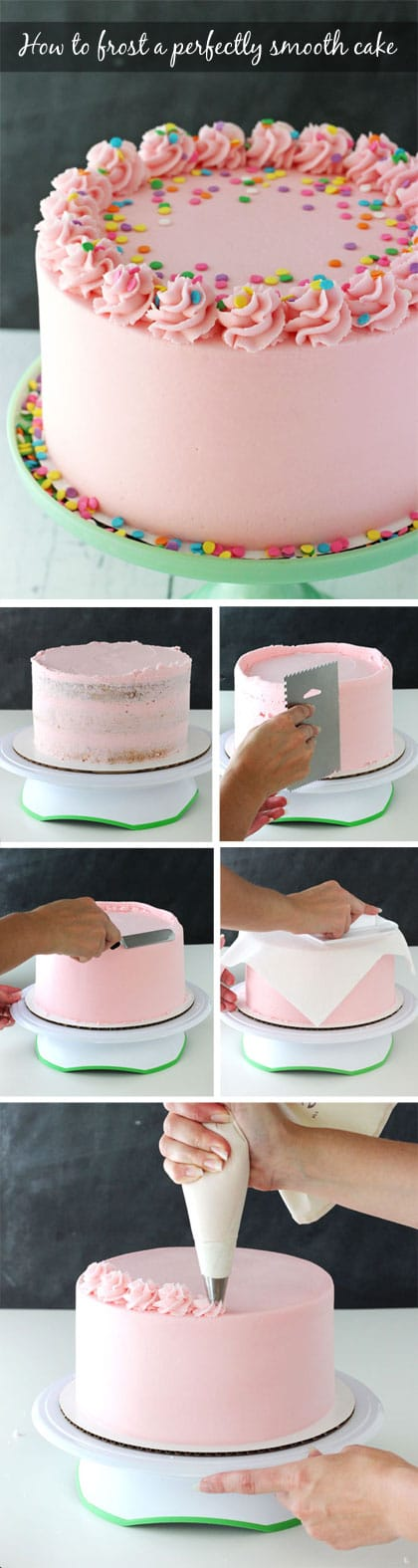 Tutorial - How to frost a perfectly smooth cake with buttercream icing! Images and animated gifs with detailed instructions!