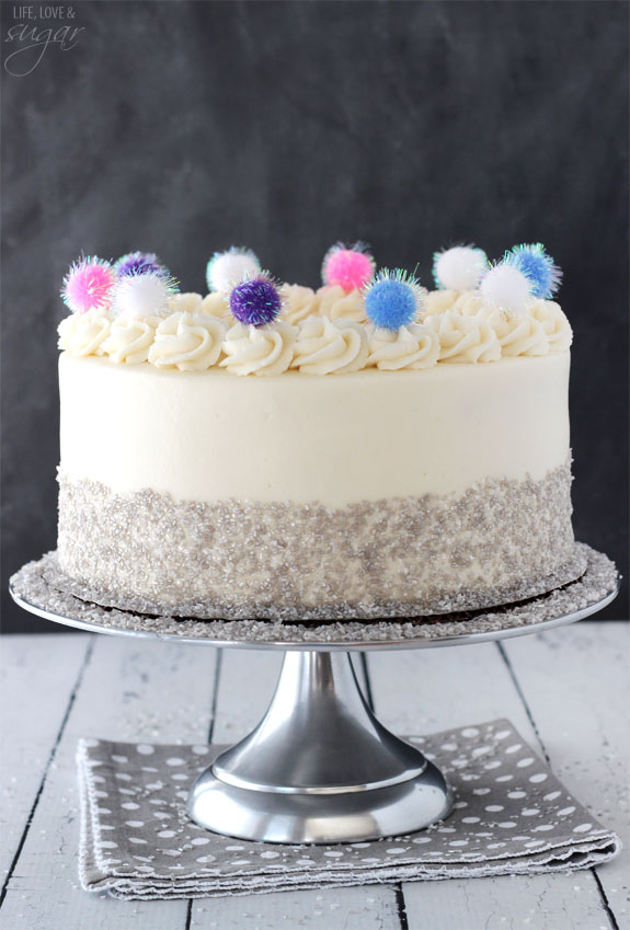 Sparkly Pom Pom Cake - so easy and fun! A great celebration cake!