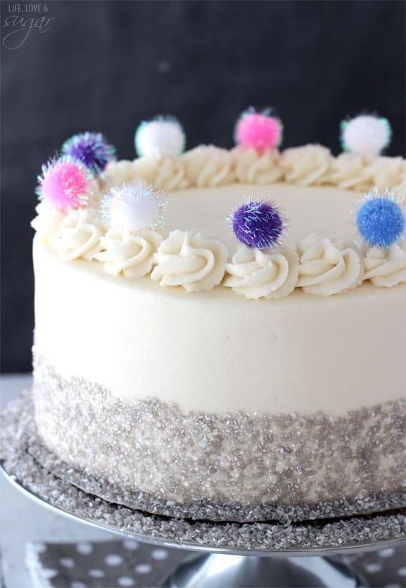 Sparkly Pom Pom Cake - so easy and fun! A great celebration cake!