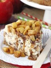 Apple Cinnamon Cheesecake on white plate close up