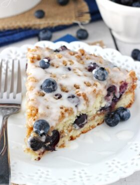 Blueberry Streusel Coffee Cake slice on white plate