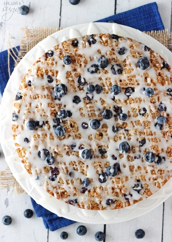 overhead image of Blueberry Streusel Coffee Cake on cake stand