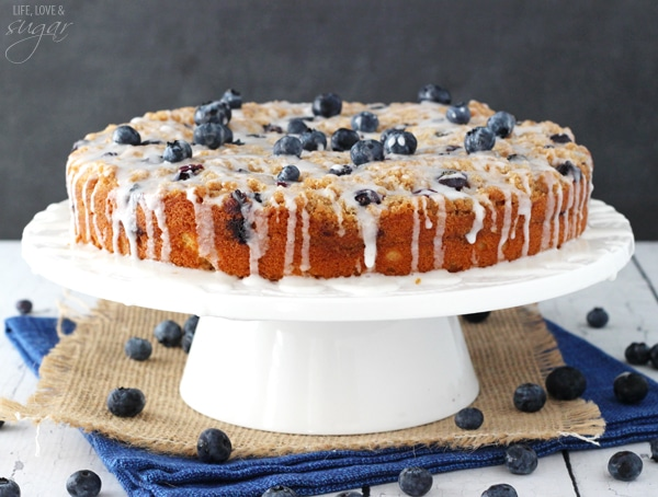 horizontal image of Blueberry Streusel Coffee Cake on cake stand