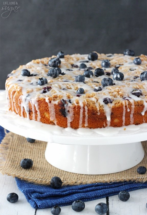 Blueberry Streusel Coffee Cake on white cake stand