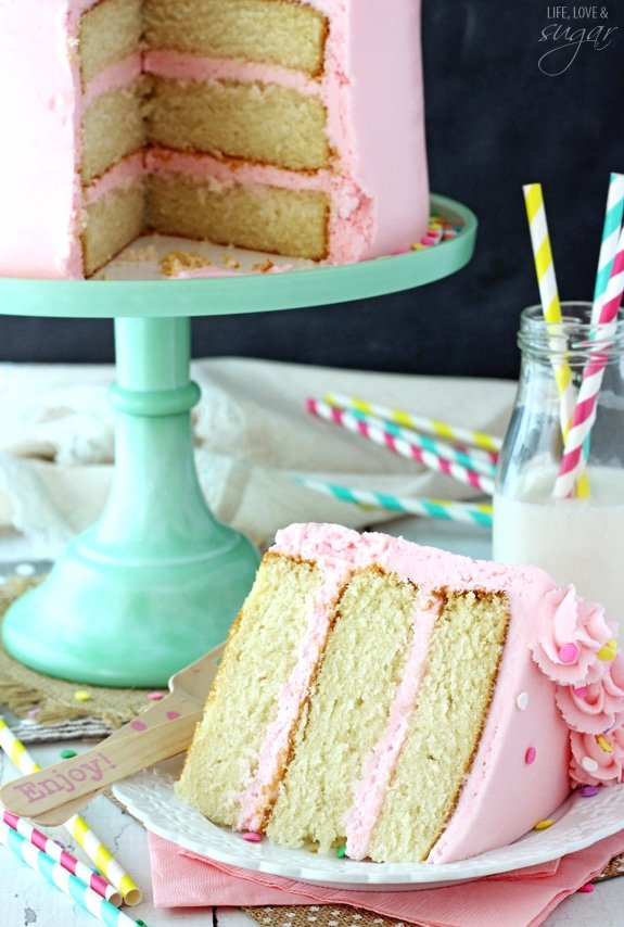 Moist and Fluffy Vanilla Cake! Such a soft, tender cake!