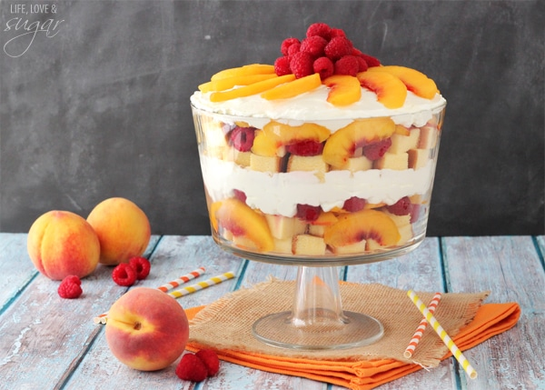 Image of a Summer Sangria Trifle with Peaches