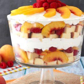 Raspberry Peach Sangria Trifle