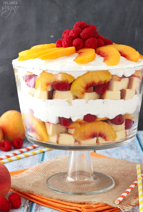 Raspberry Peach Sangria Trifle