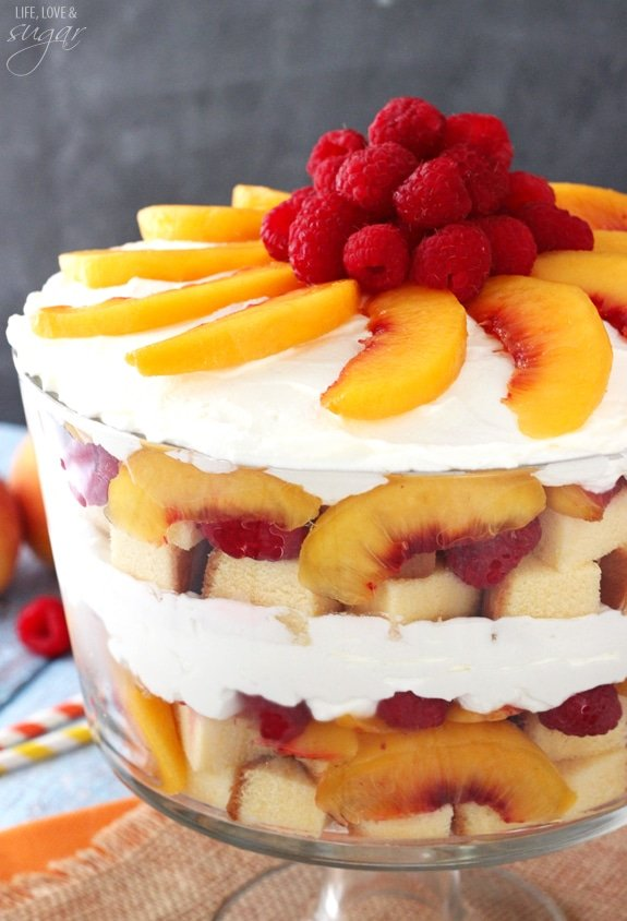 Image of a Raspberry and Peach Sangria Trifle